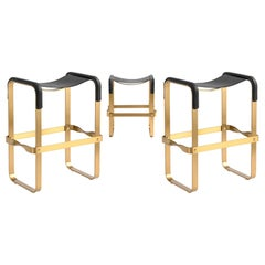 Set of 3 Counter Stool, Contemporary Design, Aged Brass Steel & Black Leather