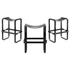 Set of 3 Counter Stool, Contemporary Design, Black Steel & Black Leather