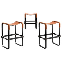 Set of 3 Counter Stool, Contemporary Design, Black Steel & Tobacco Leather