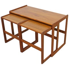 Set of 3 Danish Modern Arne Hovmand-Olsen for Mogens Kold Teak Nesting Tables