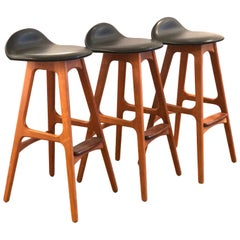 Set of 3 Danish Modern Solid Teak and Rosewood Footrest Barstools by Erik Buch