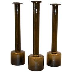 Set of 3 Danish Modern Tall Hand Blown Smoke Black Glass Vases