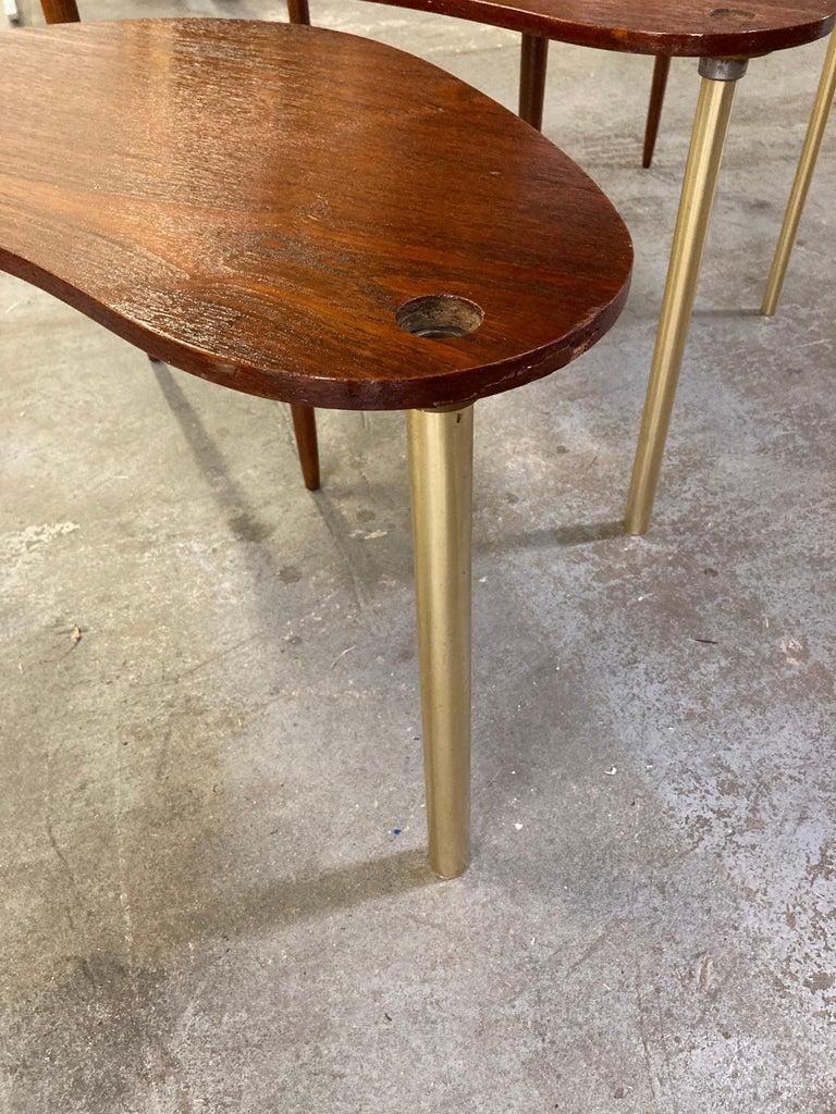 Set of 3 Danish Modern Teak Boomerang Jackknife Accent Nesting Tables In Good Condition For Sale In Wilmington, DE