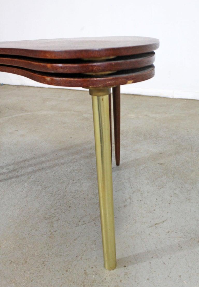 20th Century Set of 3 Danish Modern Teak Boomerang Jackknife Accent Nesting Tables For Sale