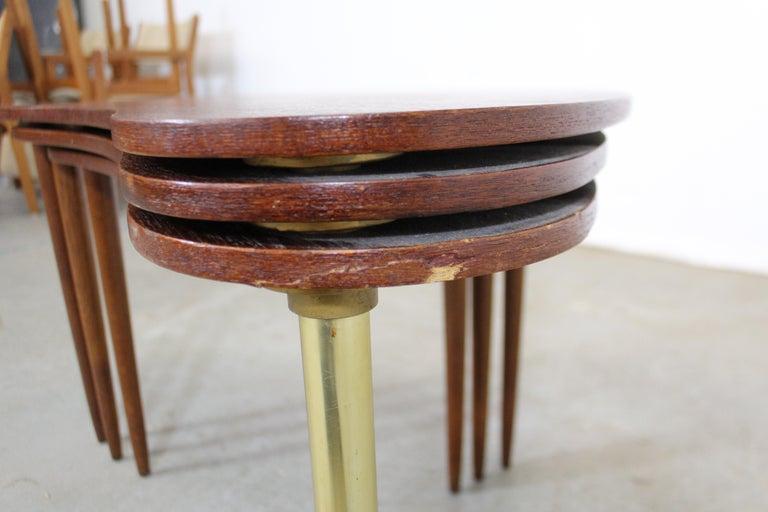 Metal Set of 3 Danish Modern Teak Boomerang Jackknife Accent Nesting Tables For Sale