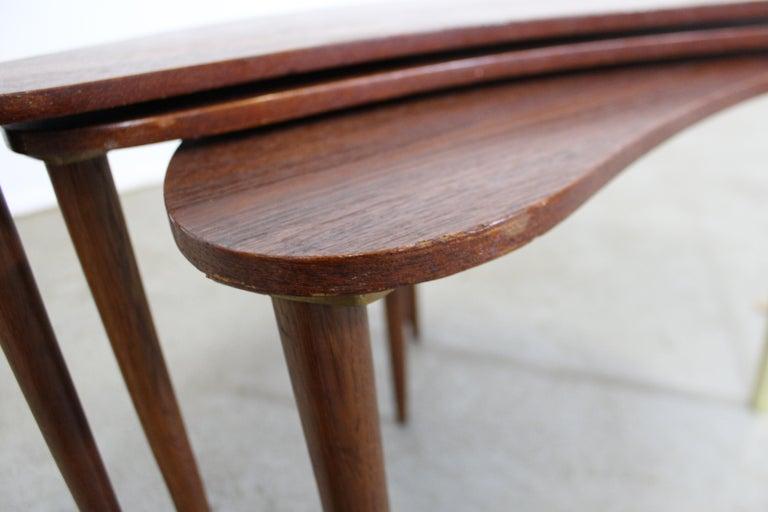 Set of 3 Danish Modern Teak Boomerang Jackknife Accent Nesting Tables For Sale 1