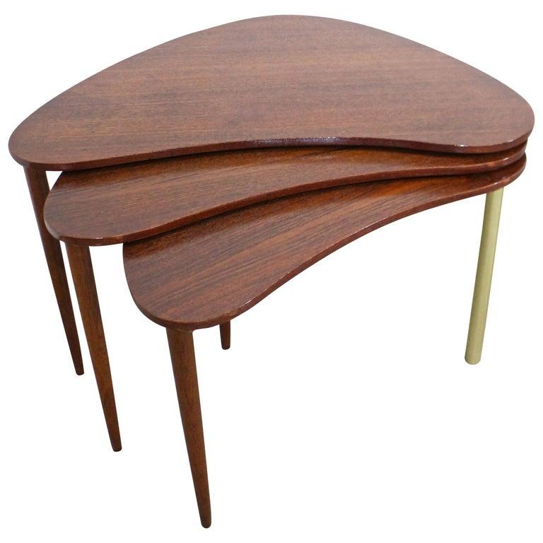 Set of 3 Danish Modern Teak Boomerang Jackknife Accent Nesting Tables For Sale