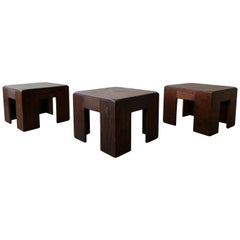 Set of 3 Dark Pine Craftsman Style Bunching Tables Stools