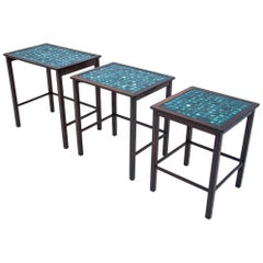 Set of 3 Decorative Tiled Tables, Denmark, 1960s