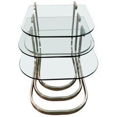 Set of 3 Design Institute America Horseshoe Shaped Chrome & Glass Nesting Tables