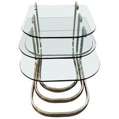 Set of 3 Design Institute America Horseshoe Shaped Chrome & Glass Nesting Tables
