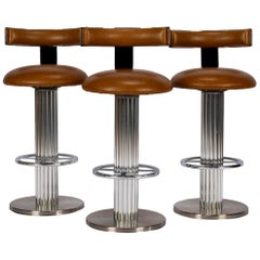 Set of 3 Designs for Leisure Chrome and Leather Barstools