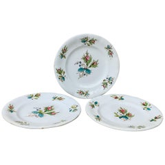 Set of 3 Dessert Plates with Roses Keller & Guerin Luneville, circa 1900