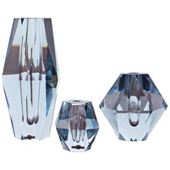 "Set of 3 ""Diamond"" Cut Crystal Vases by Strömbergshyttan, Sweden"