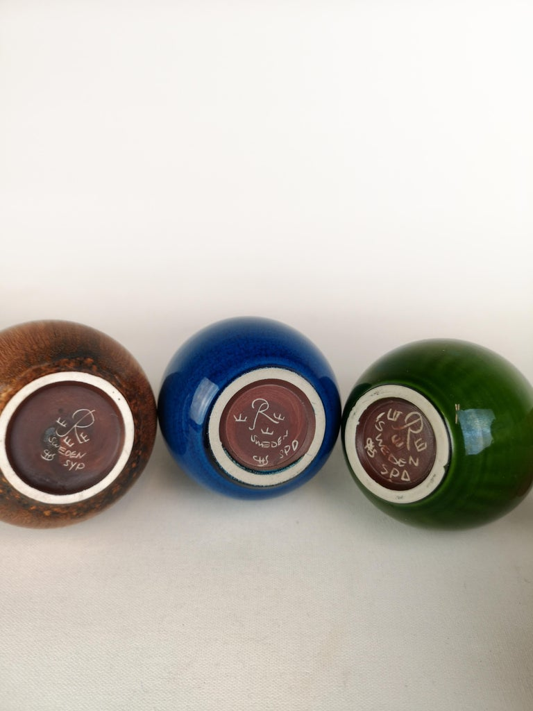 Set of 3 Drop Formed Vases Carl Harry Stålhane Rörstrand Sweden, 1960s For Sale 3