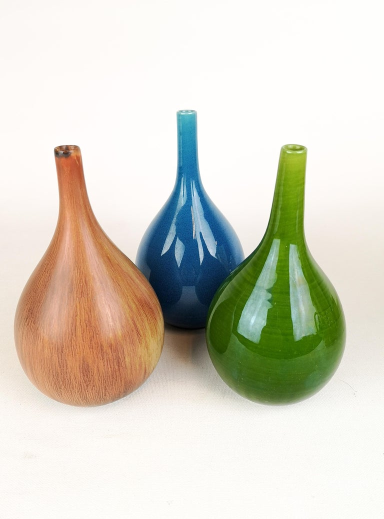 Set of 3 Drop Formed Vases Carl Harry Stålhane Rörstrand Sweden, 1960s For Sale 5