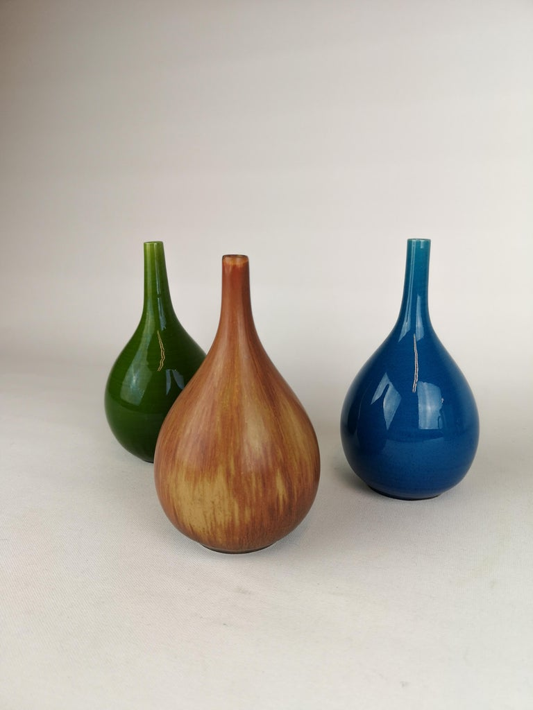 Mid-Century Modern Set of 3 Drop Formed Vases Carl Harry Stålhane Rörstrand Sweden, 1960s For Sale