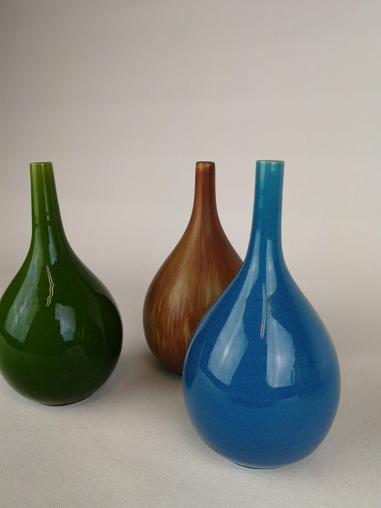 Mid-20th Century Set of 3 Drop Formed Vases Carl Harry Stålhane Rörstrand Sweden, 1960s For Sale