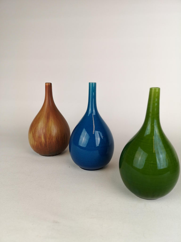 Ceramic Set of 3 Drop Formed Vases Carl Harry Stålhane Rörstrand Sweden, 1960s For Sale