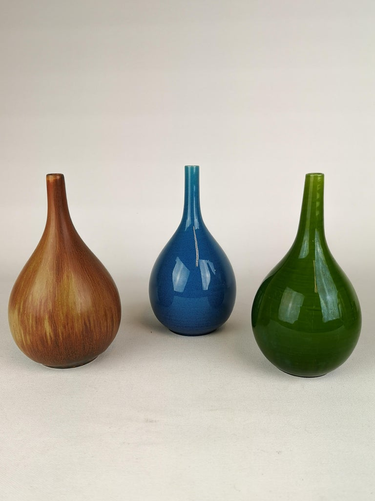 Set of 3 Drop Formed Vases Carl Harry Stålhane Rörstrand Sweden, 1960s For Sale 1