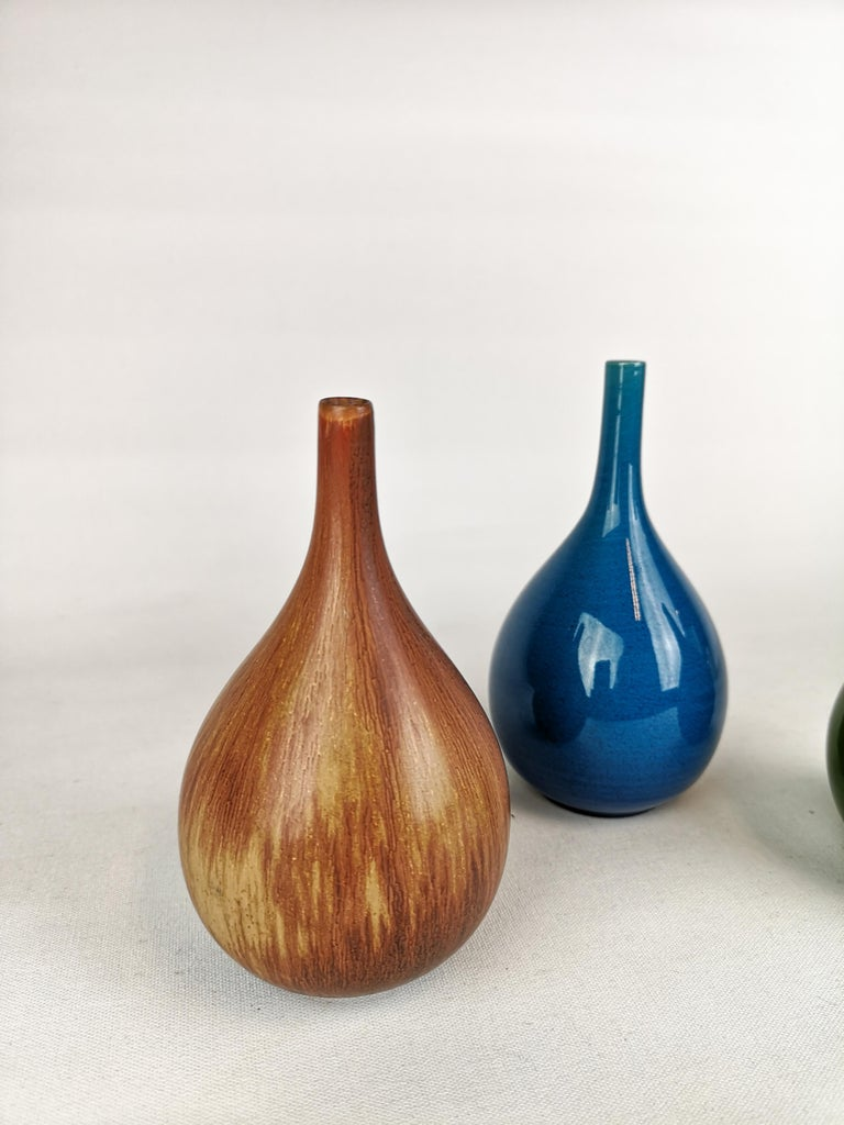 Set of 3 Drop Formed Vases Carl Harry Stålhane Rörstrand Sweden, 1960s For Sale 2