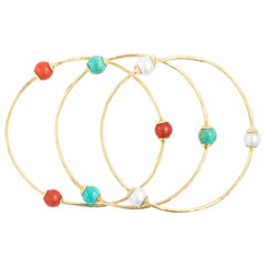 Set Of 3 Early Ippolita 18K Yellow Gold Bangle Bracelets Coral, Pearl, Turquoise