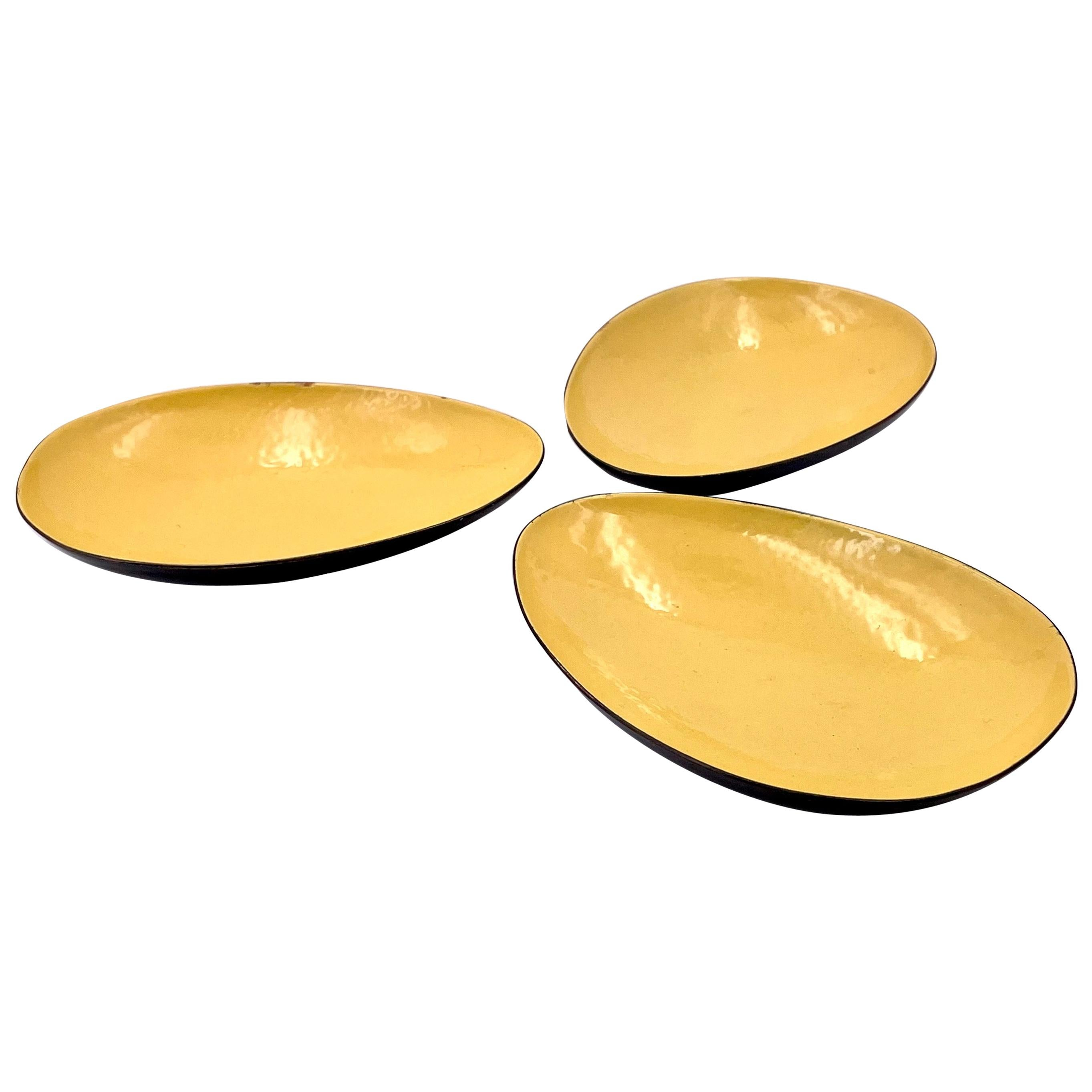 Set of 3 Enameled on Copper Yellow Midcentury California Design Low Bowls