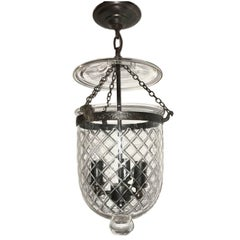 Set of 3 English Etched Glass Lanterns