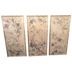Set of 3 English Silk Embroideries in Gilt Frame
