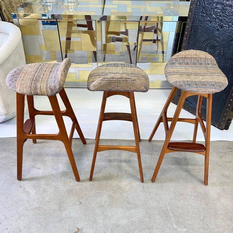 Danish Set of 3 Erik Buch OD61 Teak and Rosewood Bar Stools For Sale