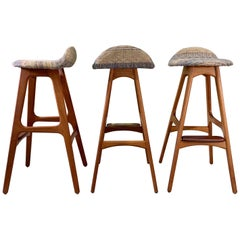 Set of 3 Erik Buch OD61 Teak and Rosewood Bar Stools
