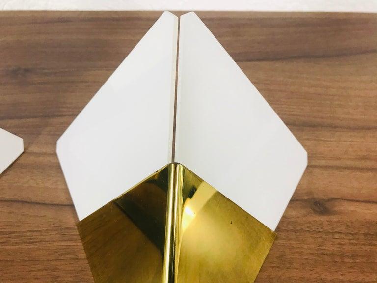 Set of 3 Extraordinary Triangle Ice Glass Sconces by Kalmar, Austria, 1960s For Sale 3