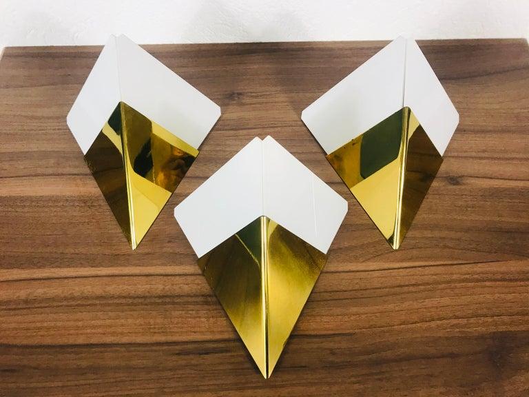 Set of 3 Extraordinary Triangle Ice Glass Sconces by Kalmar, Austria, 1960s For Sale 5