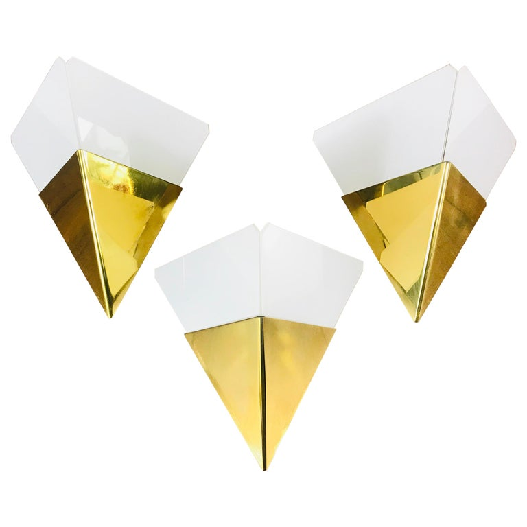 Set of 3 Extraordinary Triangle Ice Glass Sconces by Kalmar, Austria, 1960s For Sale