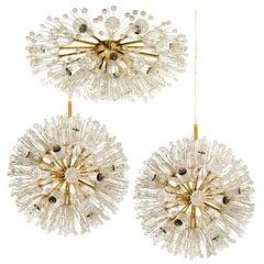 Set of 3 Fabulous Emil Stejnar Snowball Orbit Sputnik Light Fixtures, Austria