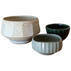 Set of 3 Faceted Studio Ceramic Bowls by Warren MacKenzie