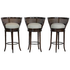 Set of 3 Faux Bamboo Bar Stools