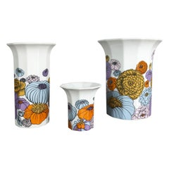 Set of 3 Floral Vases Tapio Wirkkala for Rosenthal Studio Line, Germany, 1980s