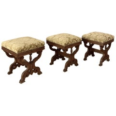 Set of 3 Foot Stools, Antique Hand Carved Oak with Mohair