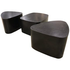 Set of 3 French Custom Black Galet Tables Stephane Ducatteu