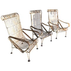 Set of 3 French Garden Armchairs