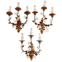 Set of 3 French Gold Tole Sconces with White Porcelain Flowers, 1920s
