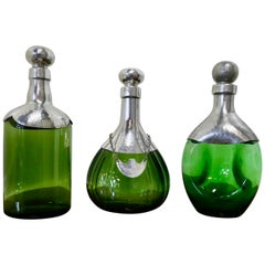 Set of 3 French Green Glass and Pewter Spirit Decanters