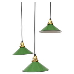 Set of 3 French Industrial Emerald Enameled Metal Pendant Lights