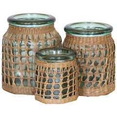 Set of 3 French Woven Glass Jars