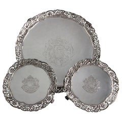 Set of 3 George III Silver Salvers or Trays, London 1762 by Richard Rugg