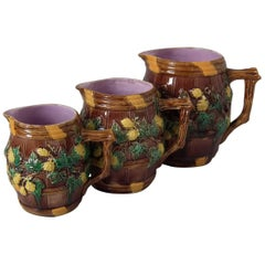 Set of 3 George Jones Majolica Barrel and Hops Pitchers