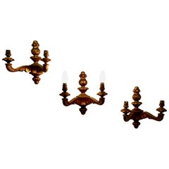 Set of 3 Giltwood Carved Twin Wall Lights