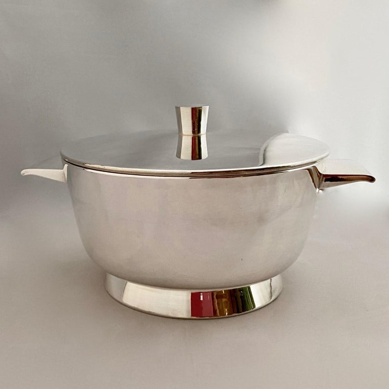 Italian Set of 3 Gio Ponti Silvered Alpaca Deep Serving Tureens and 1  Ladle for Krupp For Sale
