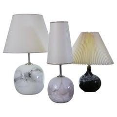 Set of 3 Glass Table Lamps by Michael Bang, Holmegaard Glasværk